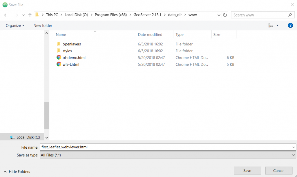 Step 3: Setting up a simple leaflet webviewer - Earder
